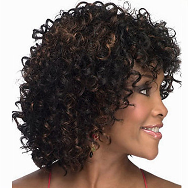 Synthetic Wig Curly Asymmetrical Haircut Synthetic Hair Natural Hairline Black Wig Women's Mid Length Capless