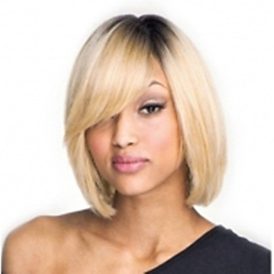 Capless Mix-Color(Gray&Blonde) Side Bang Short Straight Synthetic Hair Wig