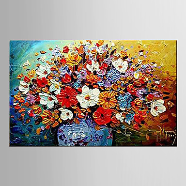 Maalattu Kukkakuvio/Kasvitiede / Abstraktit maisemakuvatEuropean Style 1 paneeli Kanvas Hang-Painted öljymaalaus For Kodinsisustus