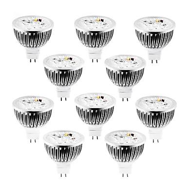 billige Elpærer-10pcs 4 W 320 lm MR16 LED-spotpærer 4 LED perler Høyeffekts-LED Mulighet for demping Varm hvit / Kjølig hvit / Naturlig hvit 12 V / 10 stk. / RoHs
