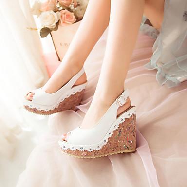 Feminino Sapatos Courino Primavera Verão Outono Plataforma Salto Plataforma para Casual Social Branco Azul Rosa claro