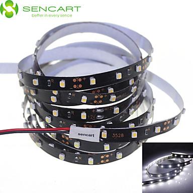 SENCART 5m Esnek LED Şerit Işıklar 300 LED'ler 3528 SMD Beyaz Kesilebilir / Kısılabilir / Bağlanabilir 12 V / Araçlar İçin Uygun / Kendinden Yapışkanlı