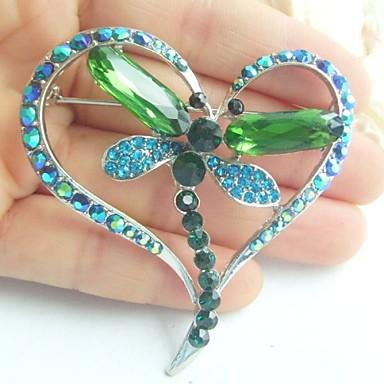 γυναικεία αξεσουάρ ασήμι-Ήχος τιρκουάζ πράσινο rhinestone κρυστάλλου γυναίκες deco Dragonfly καρφίτσα art κοσμήματα