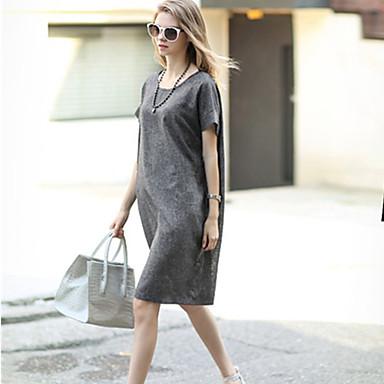 Women's Sexy Casual Cute Plus Sizes Inelastic Short Sleeve Knee-length Dress (Linen)