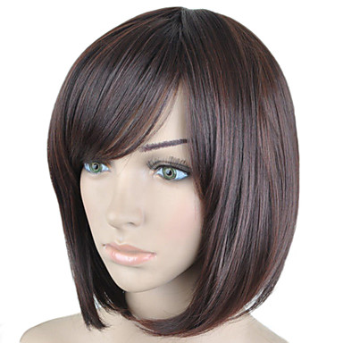 Synthetic Wig Straight Bob Haircut / With Bangs Synthetic Hair Side Part Brown Wig Women's Short Halloween Wig / Carnival Wig Capless