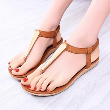 c9ab4491c1 Mulheres Sapatos Courino Verão Outono Conforto Rasteirinhas Tira em T Sem  Salto para Casual Preto Marron