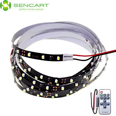 SENCART 2m Flexible LED Light Strips 120 LEDs White Remote Control / RC / Cuttable / Dimmable 12V / 3528 SMD / Linkable / Self-adhesive