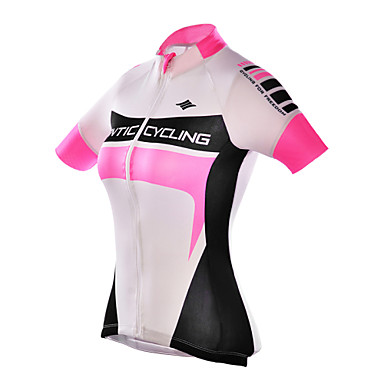 SANTIC Women's Short Sleeve Cycling Jersey - Pink Bike Jersey, Ultraviolet Resistant, Breathable Polyester
