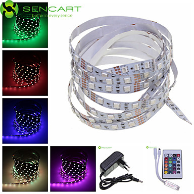 SENCART 5m Flexible LED Light Strips 300 LEDs RGB Remote Control / RC / Cuttable / Dimmable 100-240V / 12V / 5050 SMD / Linkable
