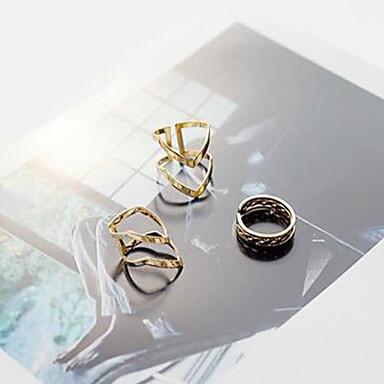 Anéis Diário / Casual Jóias Liga Feminino Anéis Meio Dedo / Conjunto 3pçs,8 / Ajustável Dourado