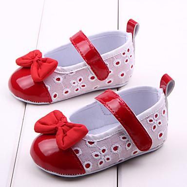 Jente Sko Tekstil / PU Vår sommer Komfort / Første gåsko Flate sko Sløyfe til Rød / Rosa