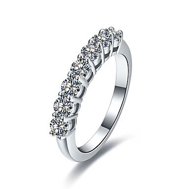 Damen Statementringe Synthetischer Diamant Sterling Silber Platiert Diamantimitate Schmuck Hochzeit