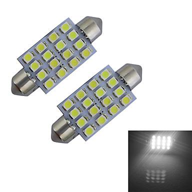 2pcs 80-100 lm Festong Dekorations Lys 16 LED perler SMD 3528 Kjølig hvit 12 V / 2 stk.