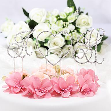 Cake Topper Classic Theme Monogram Chrome Wedding Anniversary Birthday Bridal Shower Quinceañera & Sweet Sixteen Baby Shower with