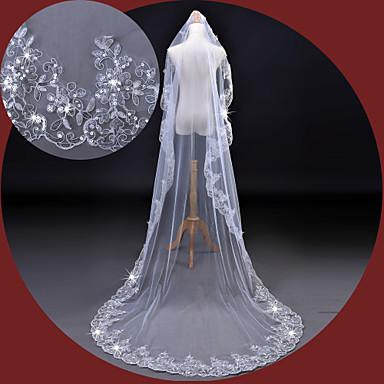 Egykapcsos Csipke szegély Menyasszonyi fátyol Katedrális fátylak A Flitter Hímzés Csipke Tüll