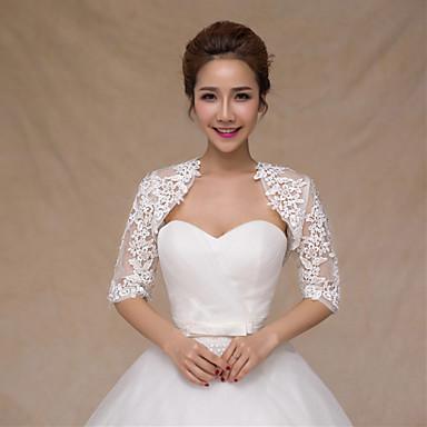 cfbd5ddcd7 esküvői pakolások Boleros félig hüvely csipke / szatén vékony menyasszony  pakolások fehér bolero vállrándítással
