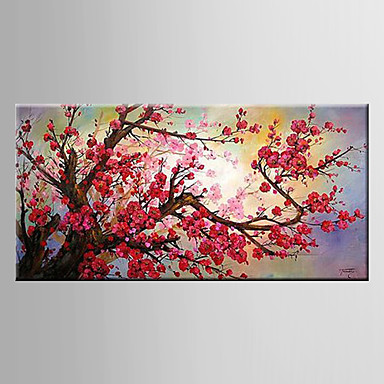 Oil Painting Plum Blossom FlowerHand Painted Canvas with Stretched Framed