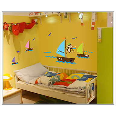 monkey suchen Traum Bootfahren im Meer Wandtattoos zooyoo7043 abnehmbare PVC Tierwandaufkleber dekorative DIY