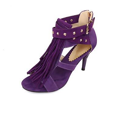 Sandaalit - Kartiokorko - Naisten kengät - Tekonahka - Musta / Sininen / Violetti / Punainen - Ulkoilu / Toimisto / Puku / Rento -Comfort