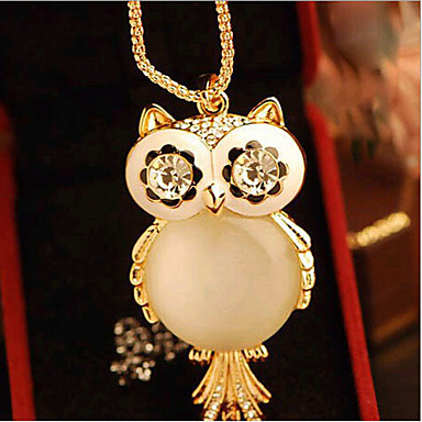Damskie Naszyjniki z wisiorkami Sowa Opal Stop Słodkie Style Gold Biżuteria Na