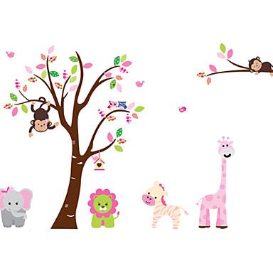 zoo lew słoń małpa cartoon naklejki ścienne dla dzieci pokoje zooyoo216 dekoracyjny naklejkę pcv ściany wymienny
