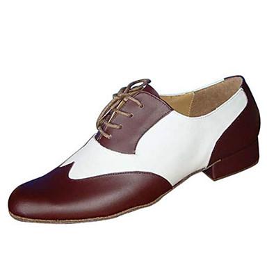 baratos Shall We® Sapatos de Dança-Homens Sapatos de Dança Couro / Courino Dança de Salão / Sapatos de Swing Oxford / Salto Salto Baixo Personalizável Preto e Branco