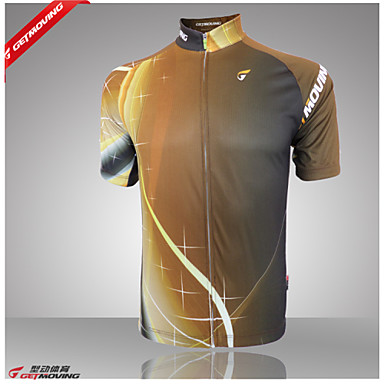 GETMOVING Men's Short Sleeves Cycling Jersey - Yellow Bike Jersey, Quick Dry, Anatomic Design, Ultraviolet Resistant, Breathable