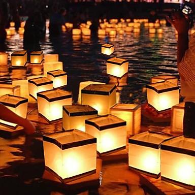 Neliö haluaa lyhty kelluva vesi lyhdyt lamppu valo kynttilän neliö paperi haluavat kelluva vesi joki