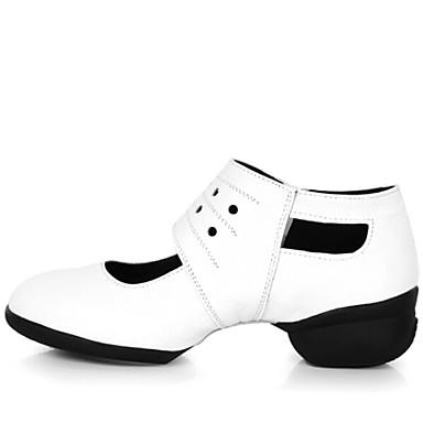 Γυναικείο Παπούτσια Χορού Δέρμα Αθλητικά Χωριστή Σόλα Για εξωτερικούς χώρους Φερμουάρ Χαμηλό τακούνι Μπορντώ Μαύρο Λευκό Καφέ 1,57