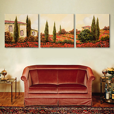E-HOME® Stretched Canvas Art The House of Flowers Decorative Painting  Set of 3