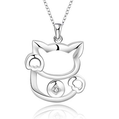 Damen Sterling Silber Kubikzirkonia - Sterling Silber Kubikzirkonia Silber Einzelkette Irregulär Tier Modische Halsketten Für Hochzeit