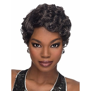 Synthetic Hair Wigs Wavy With Bangs Capless Short Black