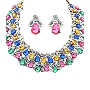 Women Luxious Bright Alloy/Acrylic Clavicle Necklace Earring Sets