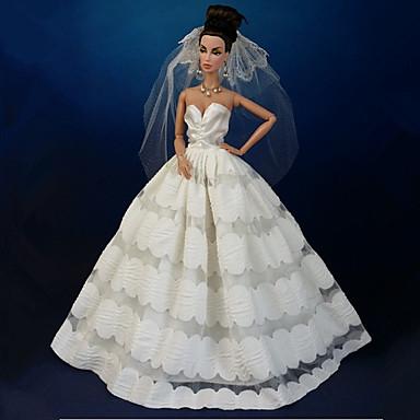 Γάμος Φορέματα Για Κούκλα Barbie Δαντέλα Organza Φόρεμα Για Κορίτσια κούκλα παιχνιδιών