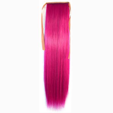 Pink syntetisk Hestehale مستقيم Micro Ring Hair Extensions Hestehale 22inch gram Medium (90g-120g) Mengde