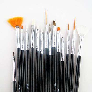 15pcs fekete fogantyú köröm tervezés festészet rajz tollal ecset készlet&5db 2-utas pontozás marbleizing toll eszközt