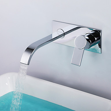 Shengbaier Contemporary Chrome Finish Brass Two Holes Single Handle Wall Mounted Bathroom Sink Faucet
