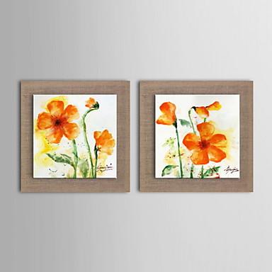 Hang-Ölgemälde Handgemalte - Blumenmuster / Botanisch Klassisch Segeltuch