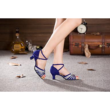 Dame Moderne sko Paljett / Syntetisk / Fløyel Høye hæler Paljett / Spenne / Snøring Kubansk hæl Kan ikke spesialtilpasses Dansesko Sølv /