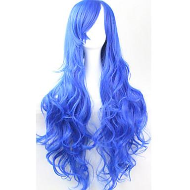 Synthetische Perücken / Perücken Locken Asymmetrischer Haarschnitt Synthetische Haare Natürlicher Haaransatz Blau Perücke Damen Lang Kappenlos Blau