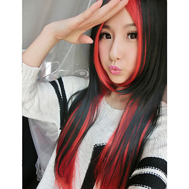 The New Cos Anime Wig Black And Red Double Color Mixed  Character Long Straight  Hair Wig