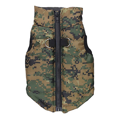 Dog Coat Vest Dog Clothes Keep Warm Camouflage Green Costume For Pets