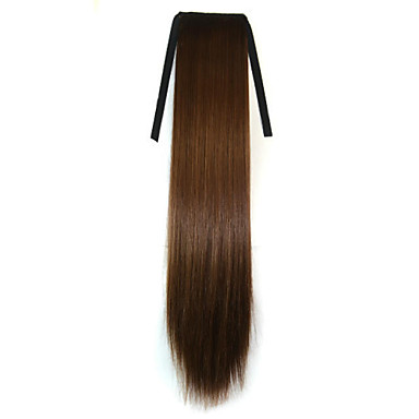 Brun syntetisk Hestehale مستقيم Micro Ring Hair Extensions Hestehale 22inch gram Medium (90g-120g) Mengde