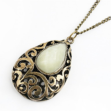 Женский Ожерелья с подвесками Драгоценный камень Сплав В форме цветка Свисающие резной Цвет экрана Бижутерия