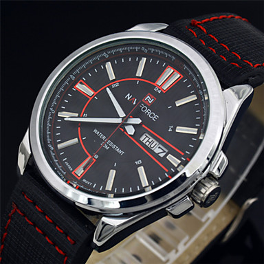 χαλαζία αναλογικό γνήσιο ένδειξη ημερομηνίας δερμάτινα σπορ μόδας στρατιωτικά  ρολόγια ανδρικά 0f6c3d66378