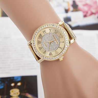 Women's Simulated Diamond Watch Dress Watch Quartz Imitation Diamond Alloy Band Sparkle Gold