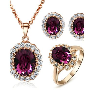 Damen Kristall Krystall / Kubikzirkonia / Diamantimitate Schmuck-Set Haken / Ohrringe / Halsketten - Purpur Schmuckset Für Hochzeit /