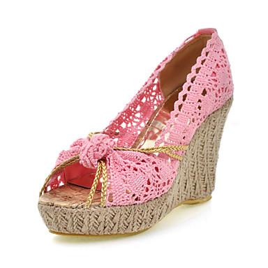 Ženske cipele-Sandale-Formalne prilike / Ležerne prilike / Zabava i večer-Čipka-Puna potpetica-Pune pete / Otvorene salonke-Crna / Plava