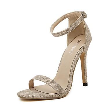 Γυναικεία παπούτσια - Πέδιλα - Καθημερινά - Τακούνι Στιλέτο - Με Τακούνι / Ανοιχτή Μύτη - Φο Σουέτ - Μαύρο / Ασημί / Χρυσό