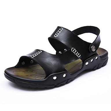 Sandaalit - Miesten kengät - Nahka - Musta / Ruskea - Rento